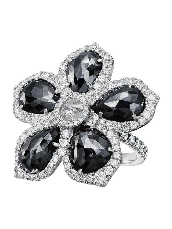 Nina Runsdorf Black Diamond Flower Ring In Not Applicable