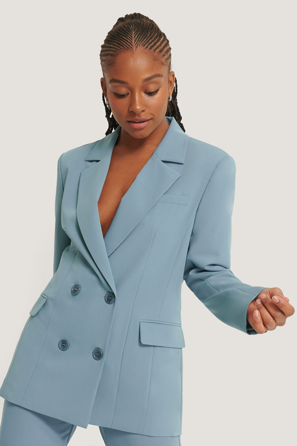Romy X Na-kd Oversized Flap Pocket Blazer Blue In Stone Blue