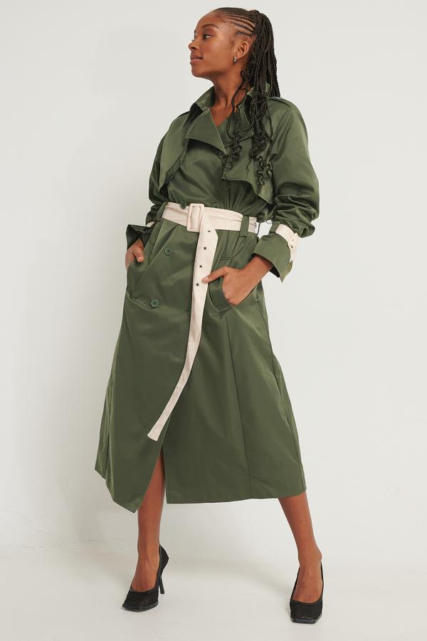 Romy X Na-kd Contrast Details Trenchcoat Green In Dark Green
