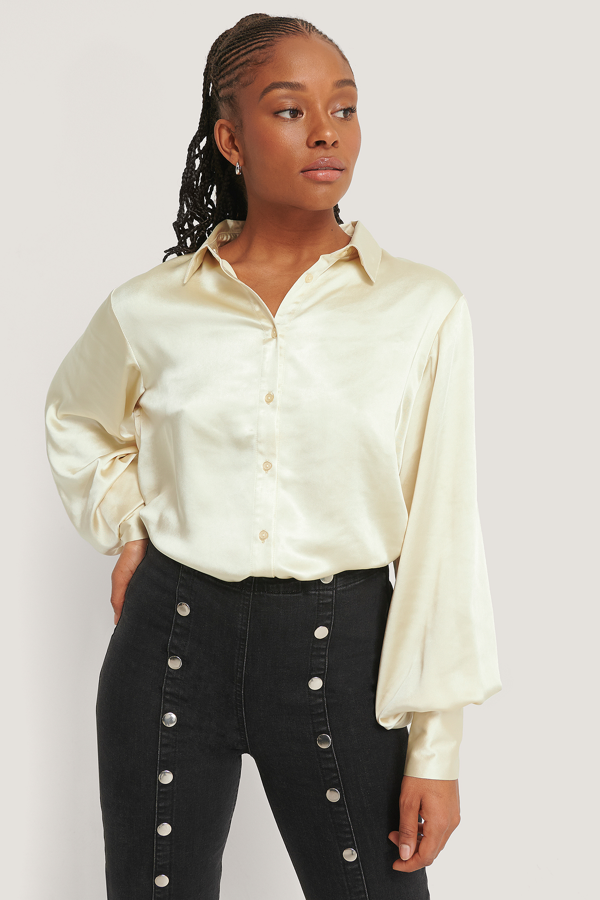 Romy X Na-kd Big Cuff Satin Blouse Nude In Champagne