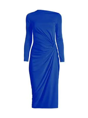 Donna Karan Women's Side Ruched Jersey Dress In Royal