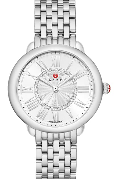 Michele Serein Mid Stainless Diamond Dial Watch, 36mm In Silver/ Silver White Sunray