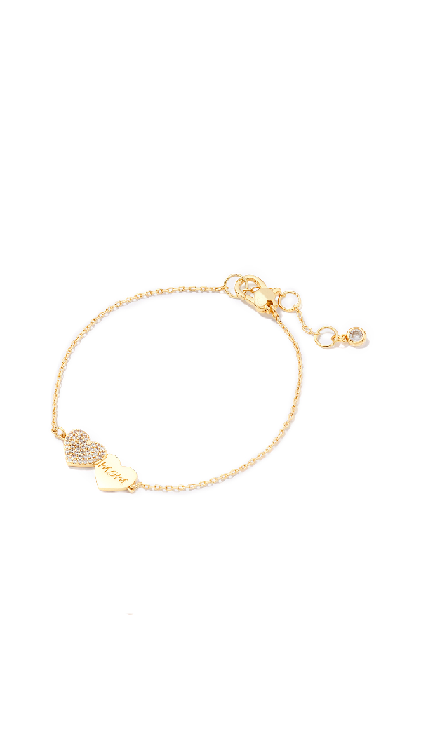 Kate Spade Mom Knows Best Pavé Heart Mom Bracelet In Clear/gold