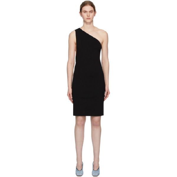 Bottega Veneta One-shoulder Compact Frise Dress Black In 1000 Black