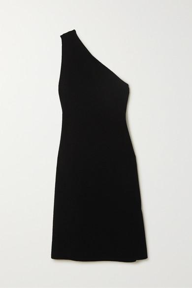 Bottega Veneta One-shoulder Compact Frise Dress Black
