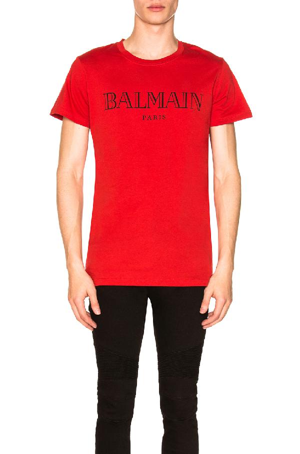a688ef52a Balmain Slim-Fit Logo-Print Cotton-Jersey T-Shirt In Red | ModeSens