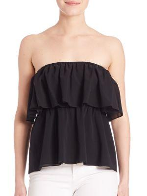 Nadine Strapless Double-Layer Silk Top in Black