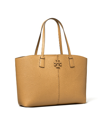Tory Burch Small Mcgraw Leather Tote In Tiramisu