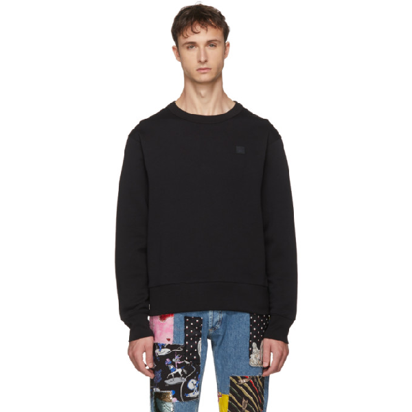 Acne Studios Oversized Logo-appliquÉd Loopback Cotton-jersey Sweatshirt In Black