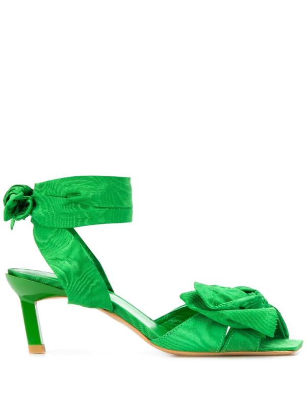 Ganni Green 65 Moiré Bow Sandals