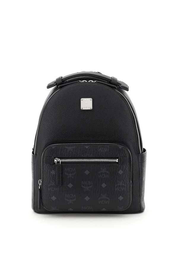 Mcm Stark 32 Backpack In Leather And Visetos In Black
