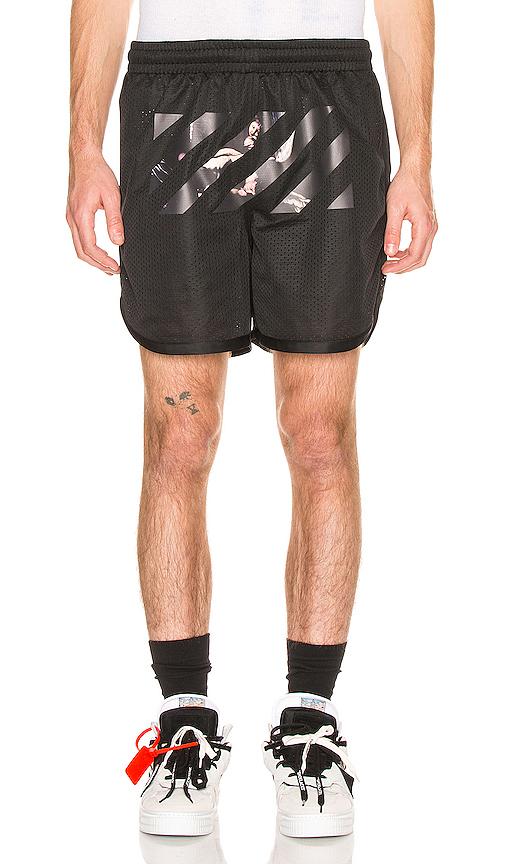 Off-white Caravaggio Arrow Mesh Shorts In Black & Multi