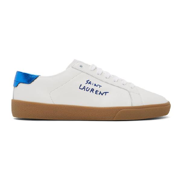 Saint Laurent Court Classic Metallic Leather Sneakers In 9587blablur