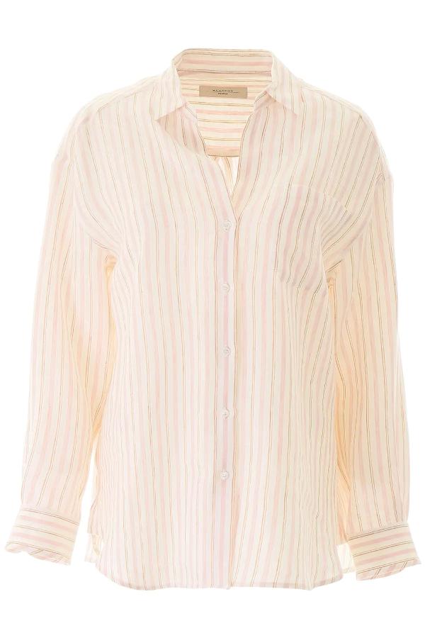Weekend Max Mara Basilio Striped Shirt In Pink,white