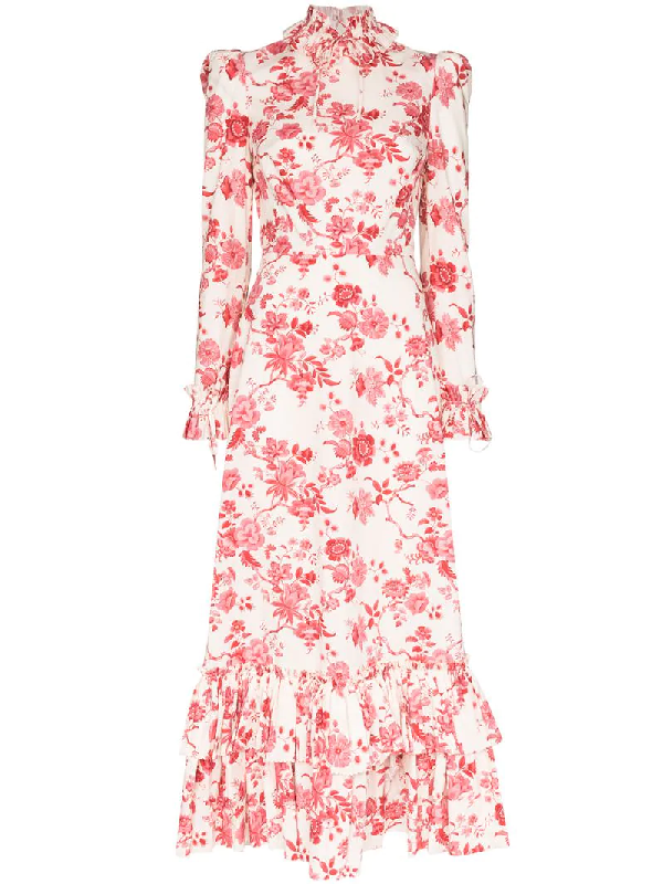 The Vampire's Wife Ruffle Neck Floral Print Dress In White