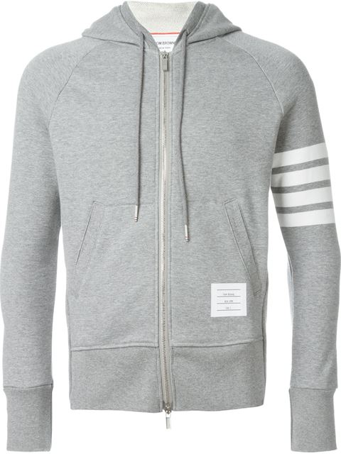 Thom Browne Striped Loopback Cotton-jersey Zip-up Hoodie - Gray In Grey