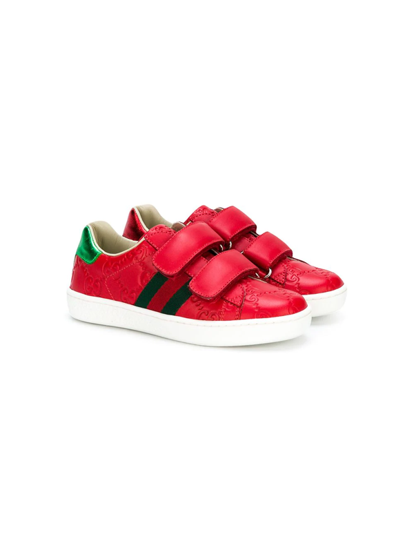 Gucci Kids' Boy's New Ace Embossed Leather Sneakers In Red
