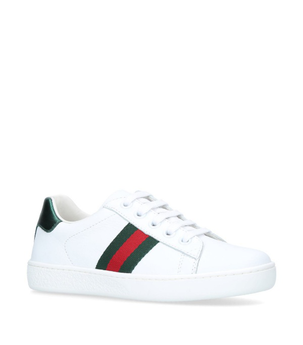 Gucci Kids' New Ace Leather Trainers 4-8 Years In White