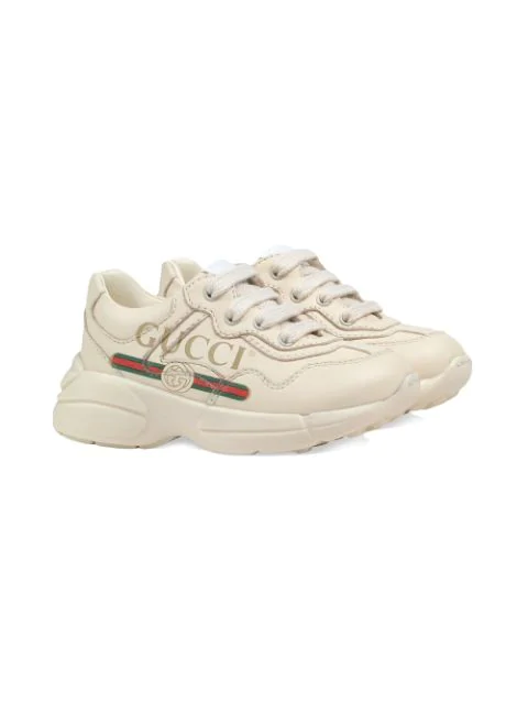Gucci Kids' Rhyton Branded Leather Trainers 5-8 Years In Neutrals