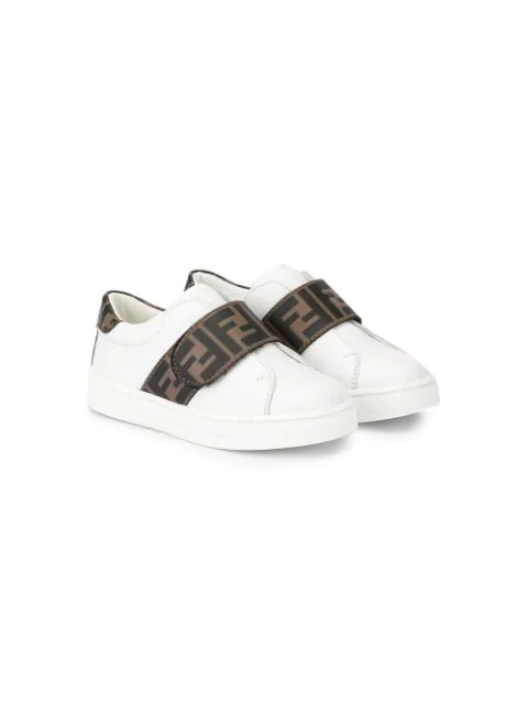 Fendi Kids' Logo-print Leather Trainers 7-10 Years In White