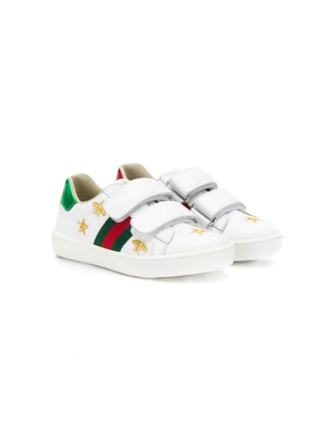 Gucci Kids' New Ace Bee Star Leather Trainers 1-4 Years In White