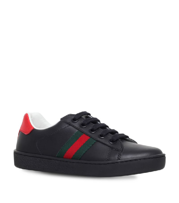 Gucci New Ace Leather Trainers 5-8 Years In Black