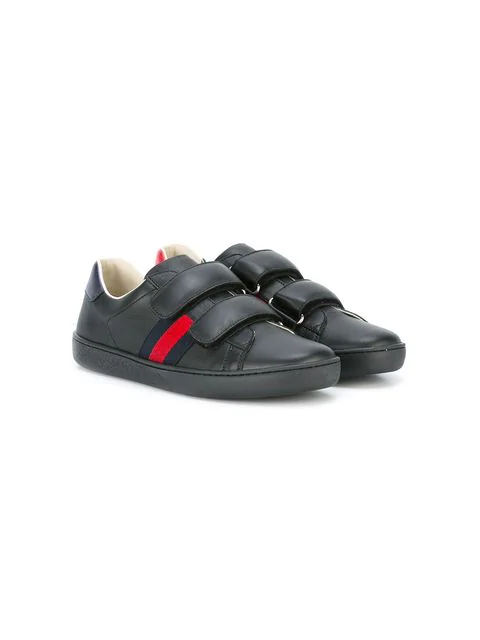 Gucci Kids' New Ace Vl Leather Trainers 8-10 Years In Black