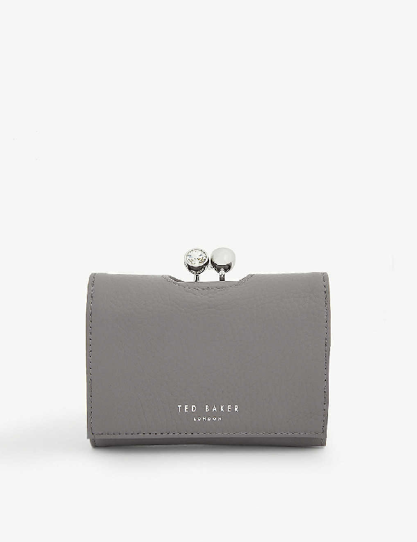 Ted Baker Suri Mini Leather Bobble Purse In Dk-grey