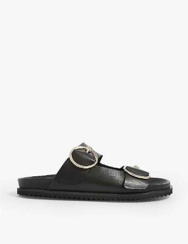 Claudie Pierlot Aroundye Buckle-embellished Leather Sandals In Black