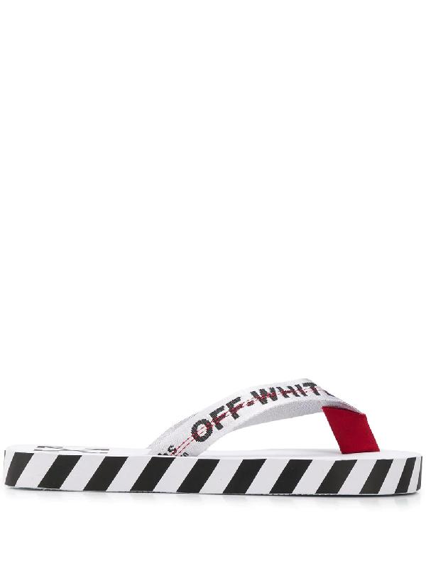 Off-white Logo Webbing Rubber Flip Flops In White