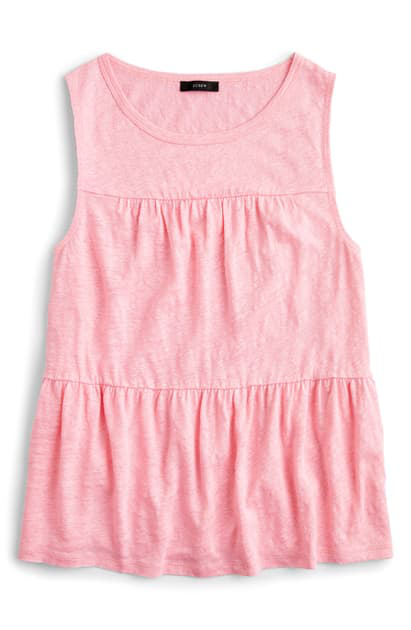 J.crew Tiered Linen Tank In Bright Peppermint