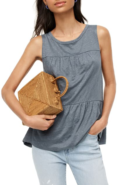 J.crew Tiered Linen Tank In Skylark Blue