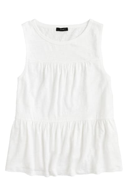 J.crew Tiered Linen Tank In White