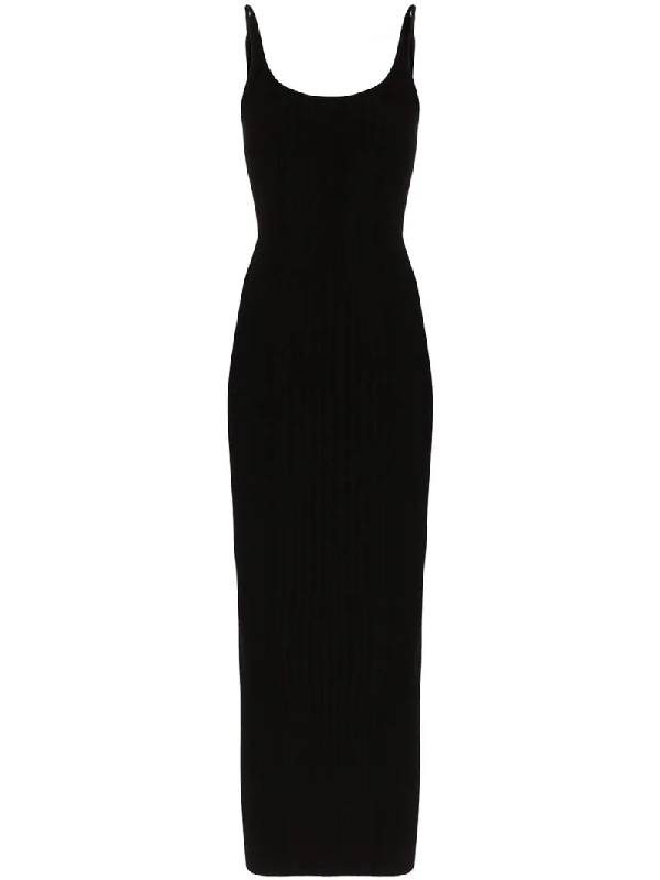 Paco Rabanne Rib Sleeveless Maxi Dress In Black
