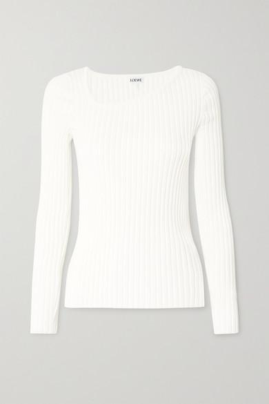 Loewe Ribbed Asymmetric Collar Sweater In White