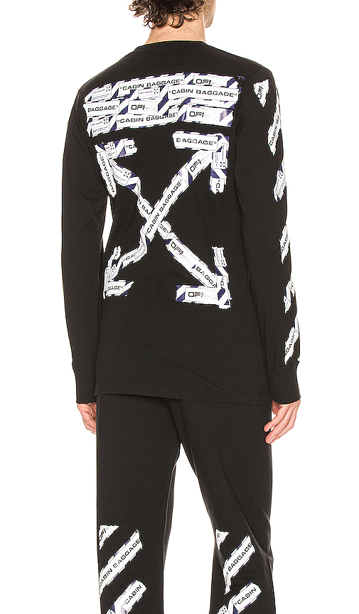 Off-white Airport Tape Long Sleeve Tee In Black & Multi
