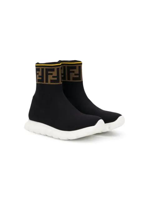 Fendi Kids' Logo-trim Knitted Sock Trainers 7-12 Years In Black