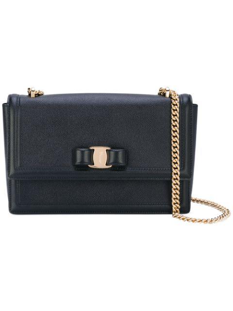 Salvatore Ferragamo Medium Vara Ginny Leather Shoulder Bag In Black