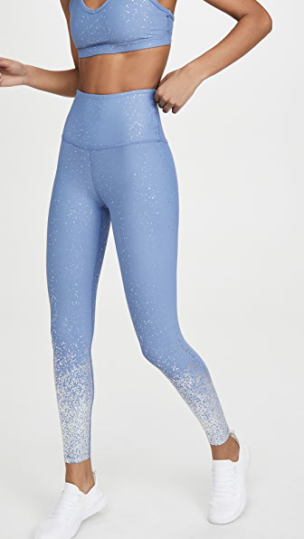 Beyond Yoga Alloy Ombre High Waisted Midi Legging - Serene Blue Shiny Silver Speckle In Serene Blue/silver Speckle