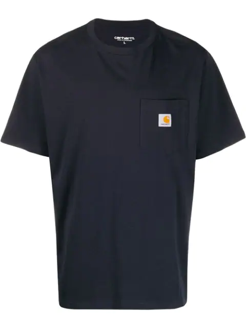 Carhartt Logo Patch Cotton T-shirt In Blue