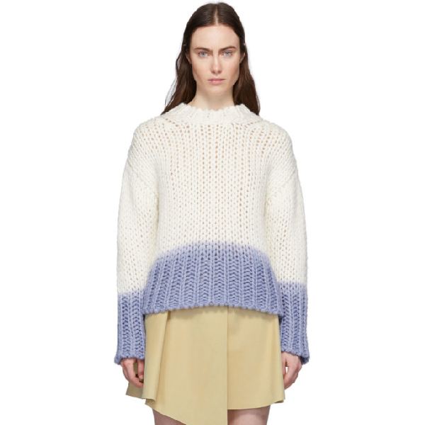 Acne Studios Kirene Two-tone Chunky-knit Jumper In Off White