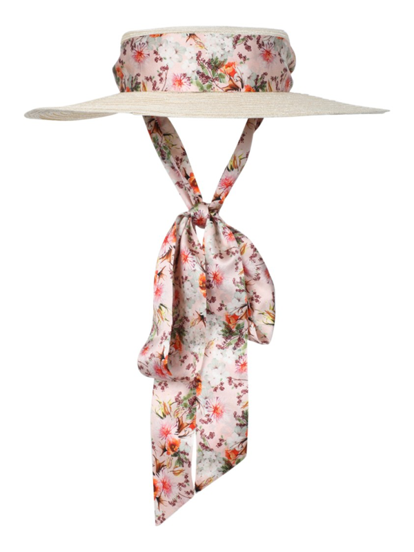 Gigi Burris Millinery X Markarian Floral Print Straw Boater Hat In Neutrals