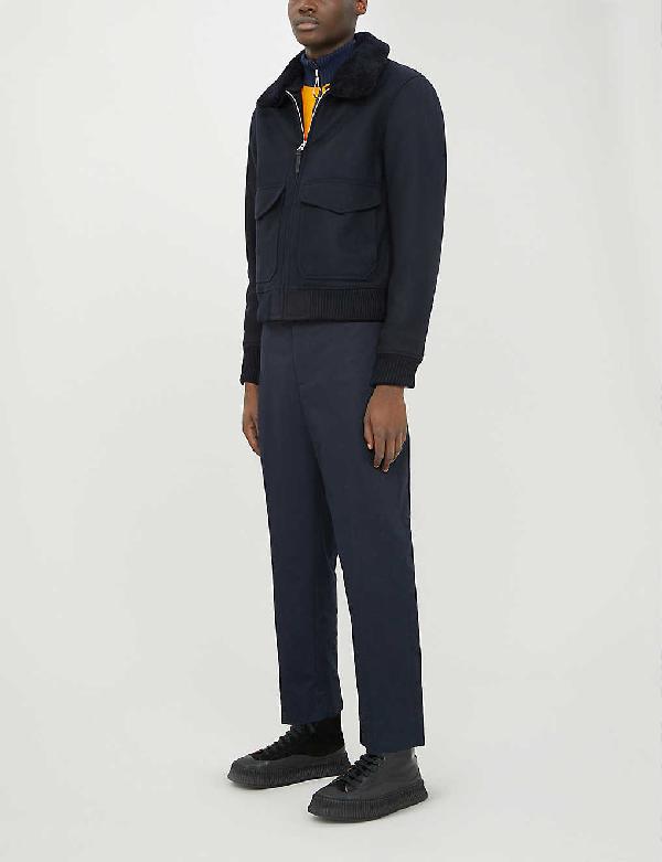 Sandro Aviator Zip-through Shearling Wool-blend Jacket In Navy Blue