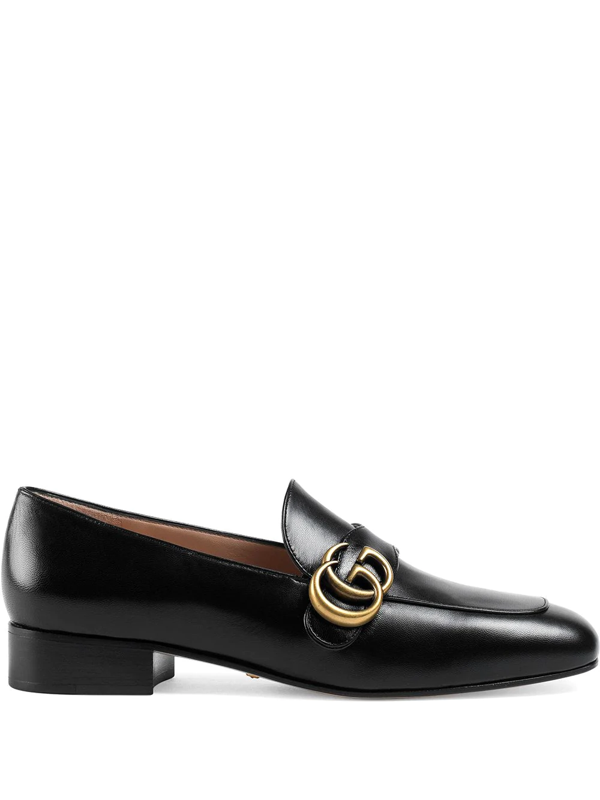 Gucci Marmont Logo-detail Leather Loafers In Black
