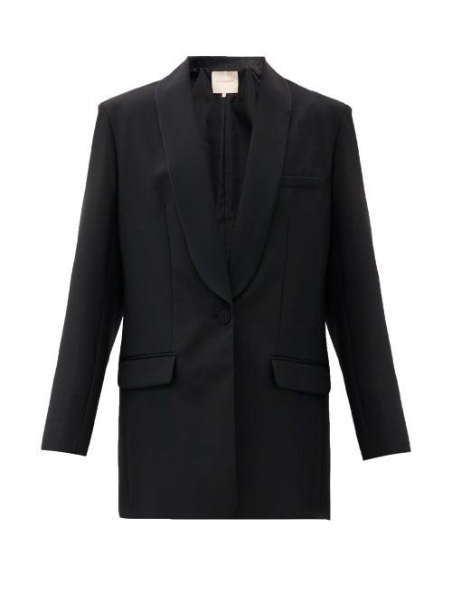 Roksanda Loretta Single-breasted Shawl-lapel Wool Blazer In Black