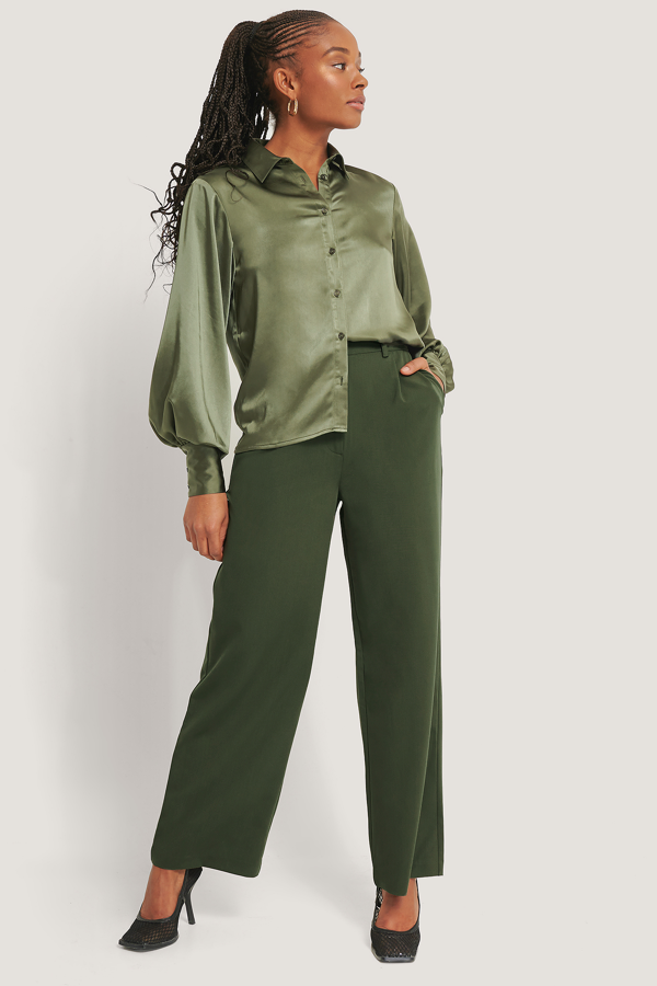 Romy X Na-kd Wide Leg Suit Pants Green In Khaki
