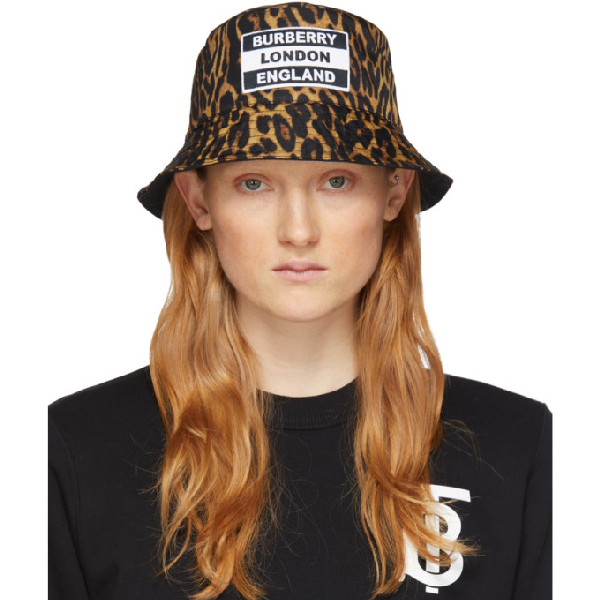 Burberry Reversible Logo-appliquÉd Leopard-print Nylon Bucket Hat In Leopard Print