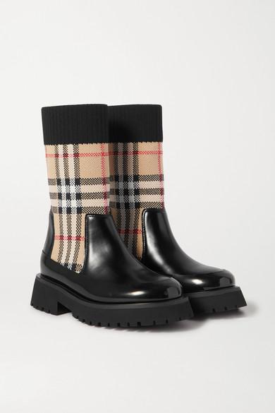 Burberry Unisex Mini Doug Vintage Check Boots - Toddler, Little Kid In Black
