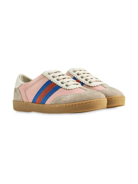 Gucci Kids' Children's G74 Leather Sneaker With Web In Pink