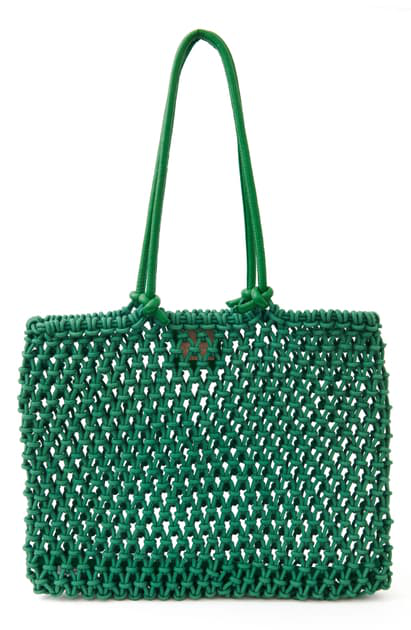 Clare V Sandy Woven Market Tote In Green